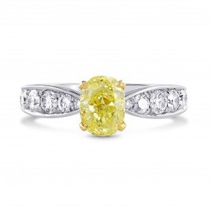 Fancy Yellow oval diamond & pave ring, SKU 73053 (1.70Ct TW)