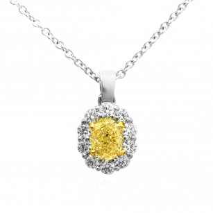 Light Yellow Oval Diamond Halo Pendant, SKU 73057 (0.82Ct TW)
