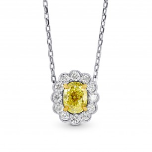 A Fancy Yellow diamond scallop halo pendant, SKU 73059 (0.76Ct TW)