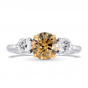 Fancy Brown Round Brilliant Three Stone Ring, SKU 73470 (1.86Ct TW)