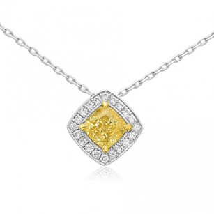 Fancy Yellow Diamond Halo Pendant, SKU 73690 (0.93Ct TW)