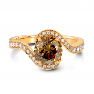 Fancy Orange Brown Round Diamond Pave Cross-Over Ring, SKU 73883 (2.16Ct TW)