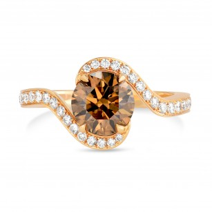Fancy Brown Round Diamond Cross-over Engagement Ring, SKU 73884 (1.77Ct TW)
