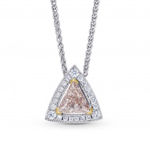 0.52cts Light Brown Pink Triangle Diamond Halo  Pendant set in 18K White and Yellow gold., SKU 75581 (0.69Ct TW)