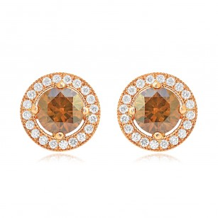 Fancy Brown Round Diamond Earrings, SKU 75644 (1.55Ct TW)