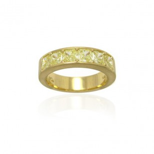 18K. Yellow Gold Diamond Band set with Radiant Cut Fancy Yellow Diamonds 1.92cts, SKU 81878 (1.92Ct TW)