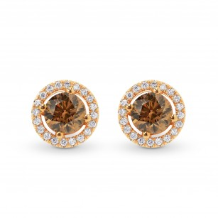 Fancy Brown Round Diamond Halo Earrings, SKU 82362 (1.48Ct TW)