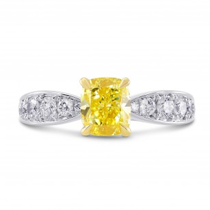 1.63Ct Fancy Intense Yellow Cushion Diamond Side Stone Ring, SKU 86798 (1.63Ct TW)