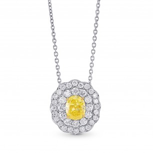 Fancy Vivid Yellow Oval Diamond Pendant, SKU 87314 (1.25Ct TW)