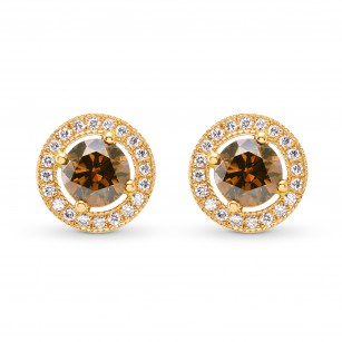 Fancy Deep Orangey Brown Round Diamond Halo Earrings, SKU 88498 (0.76Ct TW)