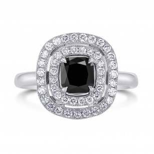 Fancy Black Diamond Double Halo Ring, SKU 89718 (1.54Ct TW)