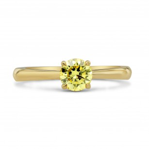 Fancy Yellow Round Brilliant Diamond Solitaire Ring, SKU 94560 (0.58Ct TW)