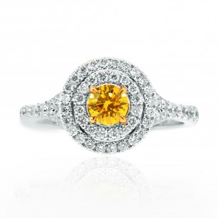 Fancy Vivid Yellow Double Halo Ring, SKU 94561 (0.72Ct TW)