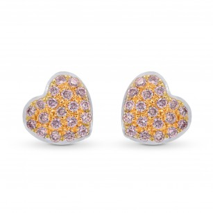 Fancy Pink Diamond Pave Heart Earrings, SKU 95806 (0.21Ct TW)