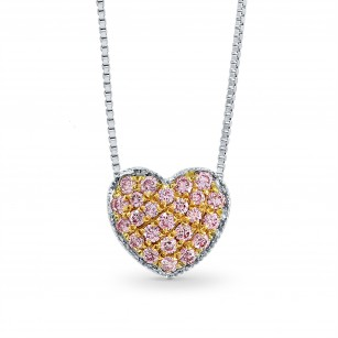 Fancy Pink Pave Heart Diamond Pendant, SKU 95807 (0.15Ct TW)