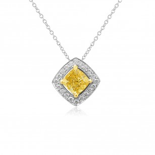 0.81ct Fancy Yellow Cushion Halo Pendant set in 18K White and Yellow gold, SKU 97325 (0.94Ct TW)
