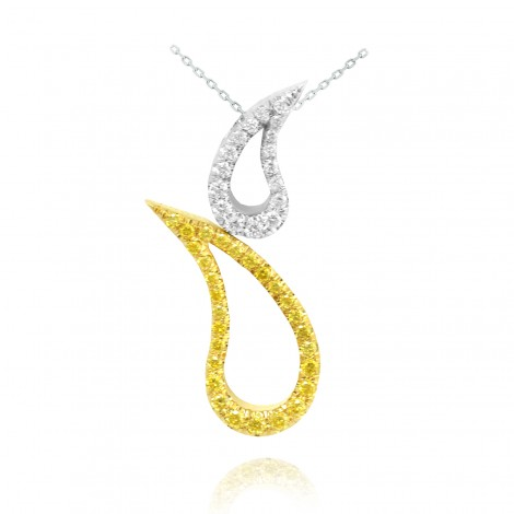 Fancy Vivid Yellow & Collection  Pendant, weighing 0.16cts set in 18K White Gold, SKU 45427 (0.16Ct TW)