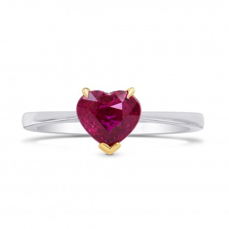 Unheated Vivid Red Ruby Heart Solitaire Ring, SKU 68828 (1.43Ct)