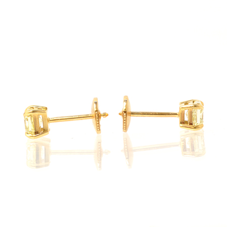 TW 1.02Ct Fancy Yellow Radiant Stud Earrings, SKU 21189 (1.02Ct)