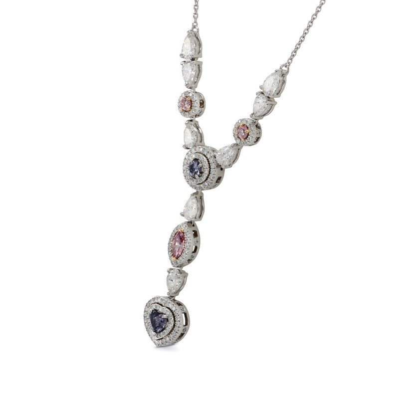 Violet and Intense Pink Diamond Necklace, SKU 141940 (3.21Ct TW)