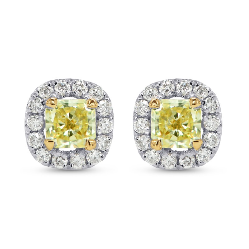 yellow diamond halo earrings - photo #23