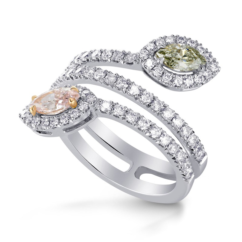 Pink & Chameleon Marquise Diamond Halo Ring, SKU 219093 (1.28Ct TW)
