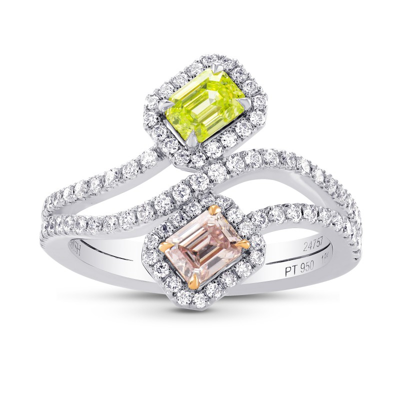 Argyle Pink & Greenish Yellow Diamond Cross-over Halo Ring with Rose Gold Prongs