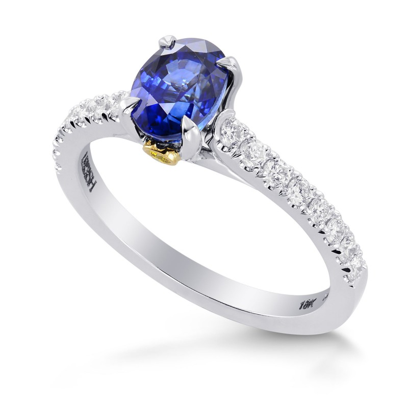 Oval Sapphire & Yellow Diamond Accent Ring, SKU 264688 (1.72Ct TW)