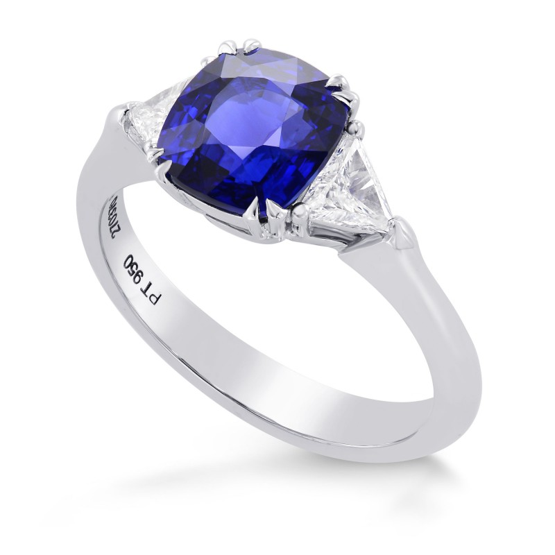 Cushion Sapphire & Triangle Diamond Ring, SKU 270370 (2.89Ct TW)