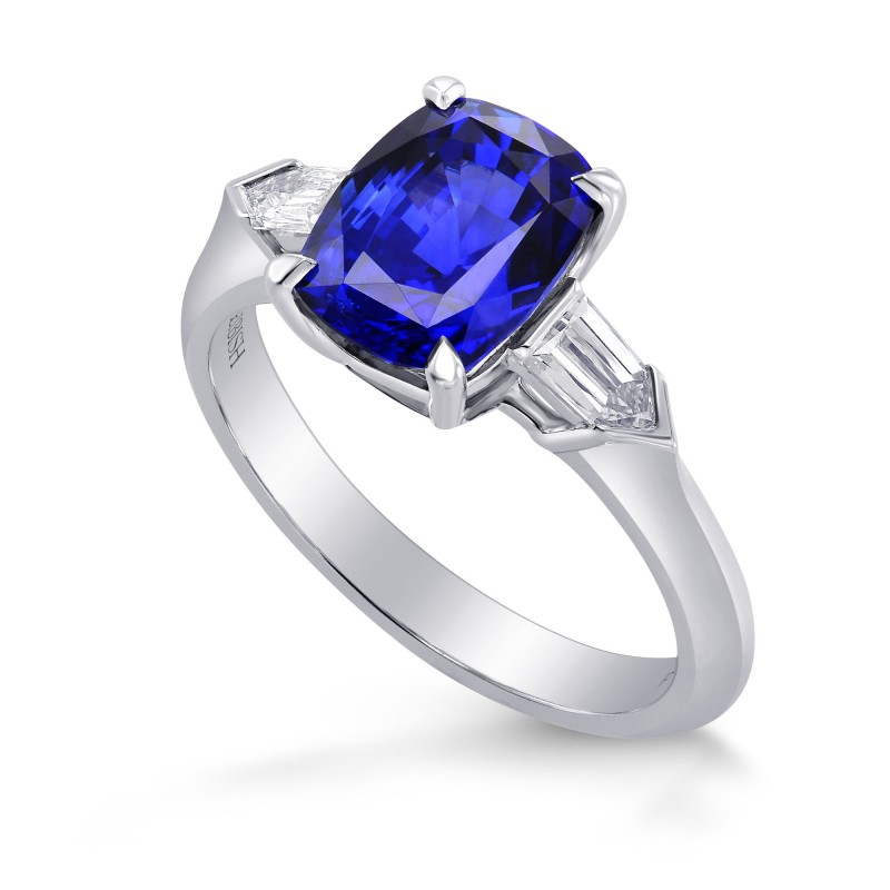 Royal Blue Sapphire Cushion & Diamond Bullet Engagement Ring, SKU 282313 (3.81Ct TW)