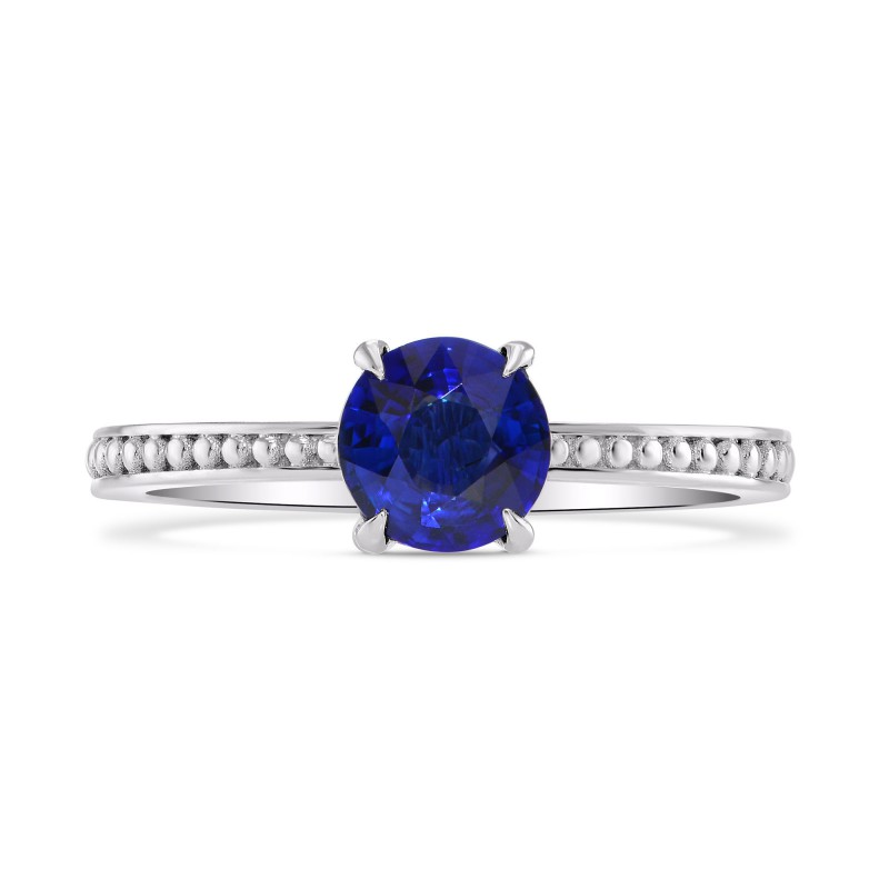 Round Sapphire Beaded Solitaire Ring, SKU 282359