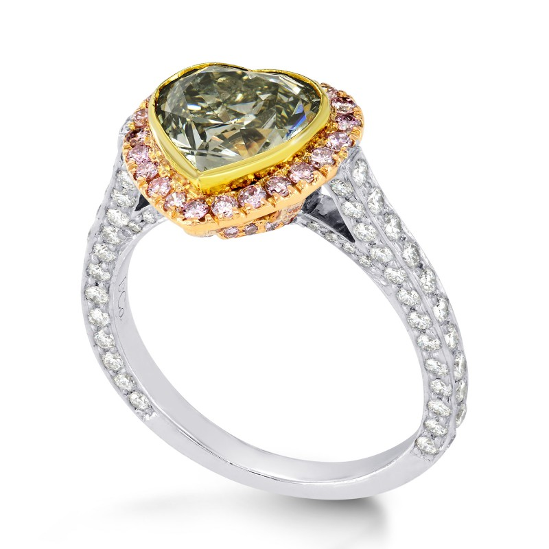 Greyish Yellowish Green Heart Diamond Ring with Pink Pave Diamonds, SKU 35668 (4.69Ct TW)
