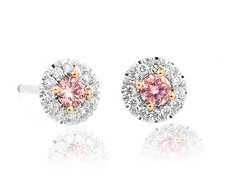 0.30ct Fancy Pink Round Diamond Earrings