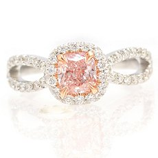 0.74ct Fancy Light Pink Cushion-shaped Diamond Ring