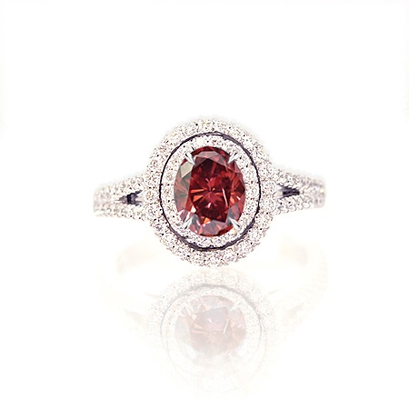 0.80 carat Fancy Red Double Halo Diamond Ring