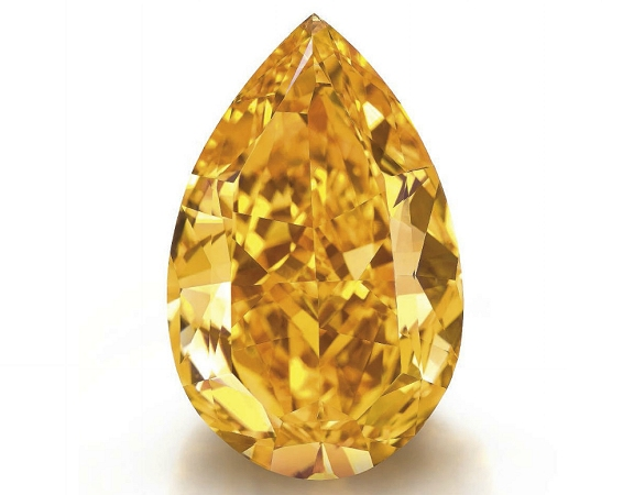 The Orange, a 14.82 Fancy Vivid Orange pear shaped diamond