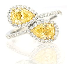 2.02ct Matching Pair of Fancy Yellow Pear shapes