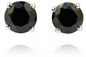 Leibish & Co. Fancy Black Diamond stud earrings in 18K white gold