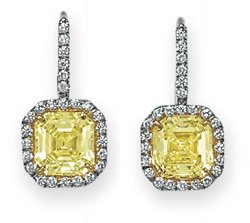 2.27ct and a 2.25ct Pair of Fancy Intense Yellow Diamond Pendant Earrings
