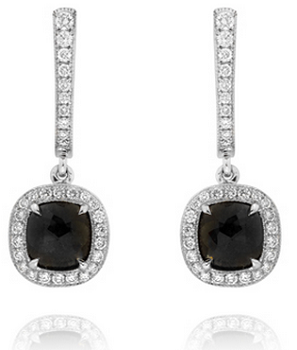 Leibish & Co. Fancy Black Diamond Halo earrings