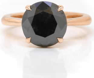 Leibish & Co. Fancy Black diamond solitaire ring in 18K rose gold
