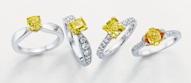 Leibish & Co. yellow diamond engagement ring collection - Soleil