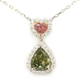 A 1.26ct, Pink and Green Diamond Pendant