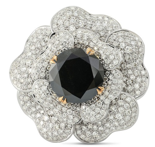 Fancy Black and Pave Diamond Flower Ring (7.25Ct TW)
