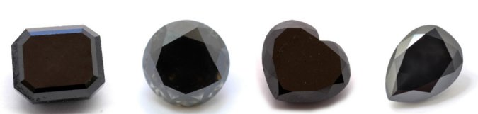 black diamonds in a variety of cuts and shapes