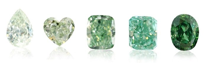 Different Intensities of Green Color Diamonds