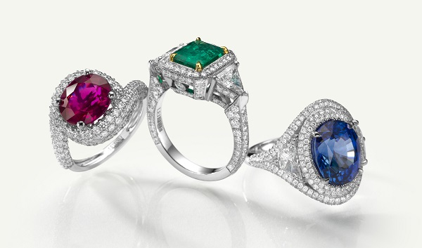 A ruby, an emerald, and a sapphire ring