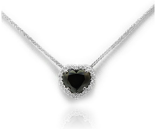 Leibish & Co. Fancy Black heart shaped Diamond Halo pendant