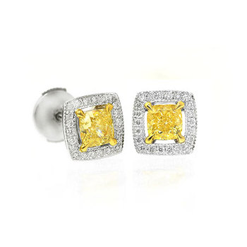 0.85 Carat, Floating Fancy Yellow halo earring studs, Cushion, VS1