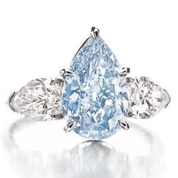 3.21 Carat, Fancy Vivid Blue, Pear-Shaped Diamond Ring